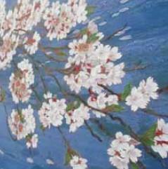 『水桜』 一枚一枚花びらを描き、盛り上げて色をつけています。